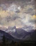 De Mt. Aiguille, olieverf, 25 x 20 cm, 5/2004, huile, Le Mt. Aiguille