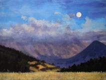 Volle maan, olieverf, 19 x 25 cm, 8/2005, huile, Pleine lune
