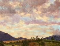 Zonsopkomst, olieverf, 19 x 25 cm, 8/2007, huile, Lever de soleil