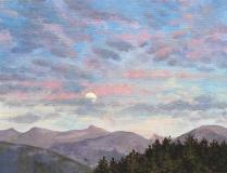 Opkomende maan, olieverf, 19 x 25 cm, 10/2009, huile, Lune montante