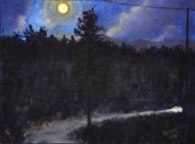 Volle maan, olieverf, 19 x 25 cm, 10/2009, huile, Pleine lune
