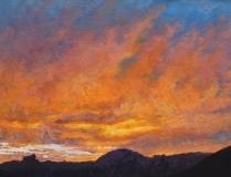 Zonsondergang, olieverf, 19 x 25 cm, 10/2009, huile, Coucher de soleil derrière le Vercors