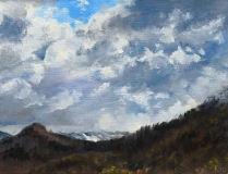 De eerste sneeuw, olieverf, 19 x 25 cm, 10/2012, huile, Première neige sur le Menil