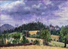 Masserange, olieverf, 19 x 26 cm, 7/2017, huile, Masserange