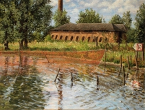 Steenfabriek IJsselstein, olieverf, 19 x 25 cm, 8/2007, huile, Fabrique de briques
