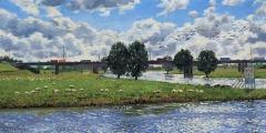 De Lek bij Vreeswijk, olieverf, 20 x 40 cm, 9/2010, huile, Le Lek à Vreeswijk