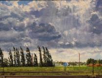Bij Vreeswijk, olieverf, 19 x 25 cm, 7/2011, huile, Environs de Vreeswijk