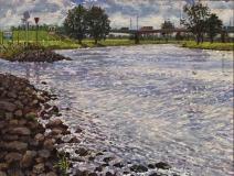 De Lek bij Vreeswijk, olieverf, 19 x 25 cm, 7/2011, huile, Le Lek à Vreeswijk