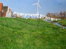 Durgerdammerdijk, olieverf, 19 x 25 cm, 3/2007, huile, La digue de Durgerdam