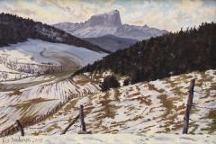De Mt. Aiguille, olieverf, 20 x 30 cm, 2/2002, huile, Le Mt. Aiguille