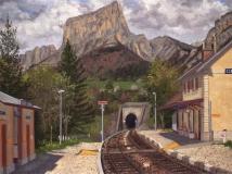 Station Clelles-Mens, olieverf, 30 x 40 cm, 5/2006, huile, Gare Clelles-Mens