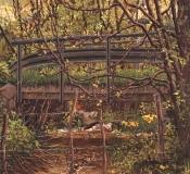 Brug bij Les Planches, olieverf, 29 x 32 cm, 5/1998, huile, Pont des Planches