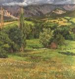 De voet van de Obiou, olieverf, 33 x 31 cm, 8/2011, huile, Le pied de l'Obiou