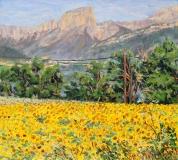 De zonnebloemen van Louis, olieverf, 20 x 22 cm, 8/2015, huile, Les tournesols de Louis