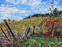 Les Sagnes, olieverf, 19 x 25 cm, 10/2017, huile, Les Sagnes
