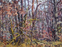 Bosrand, olieverf, 20 x 25 cm, 12/2017, huile, Sousbois
