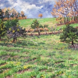 Montvallon, olieverf, 20 x 20 cm, 4/2018, huile, Montvallon