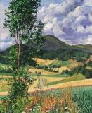 Les Quatre Chemins, olieverf, 46 x 38 cm, 8/2018, huile, Les Quatre Chemins
