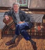Hans op canapé, olieverf, 55 x50 cm, 1999, huile, Hans sur le canapé