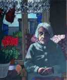 Mijn oma, olieverf, 120 x 100 cm, 1985, huile, Ma grand mère