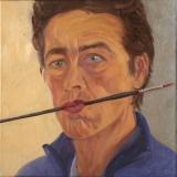 Zelfportret, olieverf, 30 x 30 cm, 2006, huile, Autoportrait
