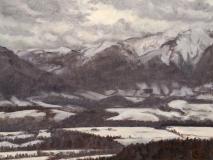 Winterzon, olieverf, 19 x 25 cm, 1/2007, huile, Soleil d'hiver à Charvet
