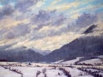 De Menil, olieverf, 19 x 25 cm, 1/2007, huile, Le Menil