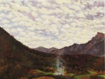 Vuurtje aan de voet van de Ménil, olieverf, 19 x 25 cm, 11/2008, huile, Feu au pied du Ménil