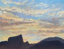 Zonsondergang, olieverf, 19 x 25 cm, 8/2009, huile, Coucher de soleil