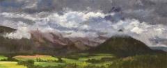 De Grd Ferrand in de wolken, olieverf, 19 x 46 cm, 6/2010, huile, Le Grd Ferrand dans les nuages