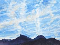 De Rognon en de Aup, olieverf, 19 x 25 cm, 11/2014, huile, Le Rognon et l'Aup
