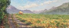 Col du Thaud, olieverf, 19 x 46 cm, 7/2015, huile, Col du Thaud