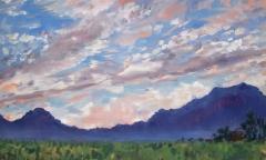 Zonsondergang, olieverf, 23 x 38 cm, 10/2015, huile, Coucher de soleil au Col du Thaud