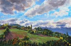 Kerktoren Lavars, olieverf, 19 x 29 cm, 10/2017, huile, Le clocher de Lavars