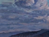 Avondlucht, olieverf, 19 x 25 cm, 8/2018, huile,  le Vercors - ciel du soir