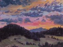 Zonsondergang, olieverf, 19 x 25 cm, 8/2018, huile, Le Vercors - coucher de soleil