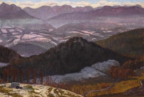 Schemering over de Trièves, olieverf, 20 x 30 cm, 1/2002, huile, Le Trièves au crépuscule