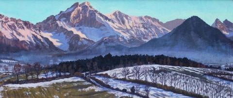De Grd Ferrand bij zonsondergang, olieverf, 17 x 40 cm, 1/2002, huile, Le Grd Ferrand au coucher de soleil