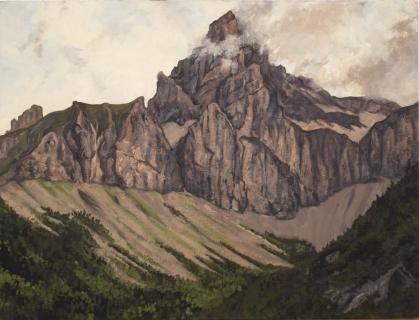 De Obiou, olieverf, 32 x 42 cm, 7/2002, huile, L'Obiou