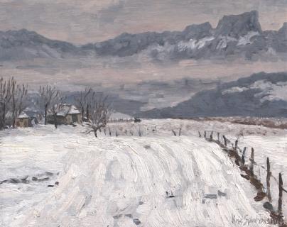 La Grange Haute, olieverf, 20 x 25 cm, 12/1996, huile, La Grange Haute