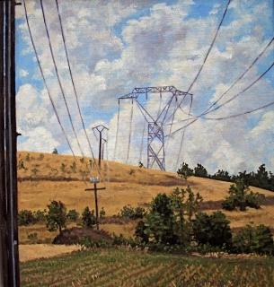 Electriciteitsmasten bij Cordeac, olieverf, 22 x 20 cm, 7/2003, huile, Pylônes à Cordeac