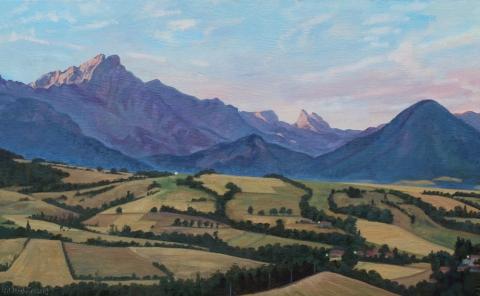 <em>Zonsopgang achter de Grd Ferrand</em>, olieverf, 30 x 48 cm, 8/2003, huile, Lever de soleil derrière le Grd Ferrand