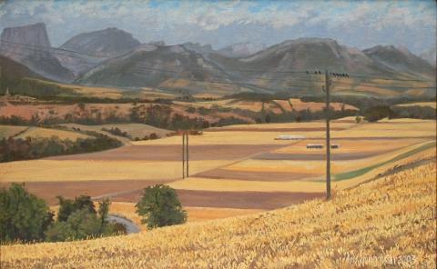 De vlakte van Prébois, olieverf, 24 x 38 cm, 8/2003, huile, La plaine de Prébois