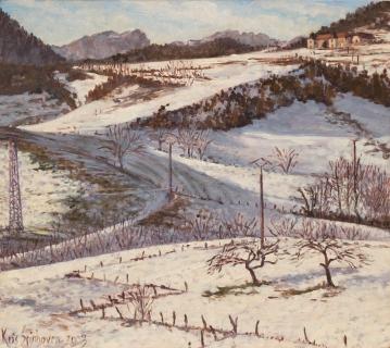 Terres du Ruisseau, olieverf, 20 x 22 cm, 12/2003, huile, Les Terres du Ruisseau