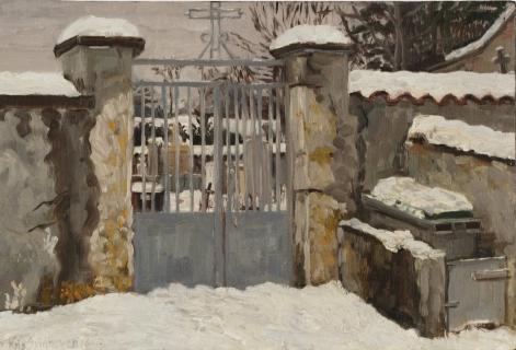 Kerkhof van Mens, olieverf, 20 x 30 cm, 1/1997, huile, Cimetière de Mens