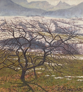 Kersenboom bij Villette, olieverf, 21 x 19 cm, 2/2005, huile, Cerisier à Villette