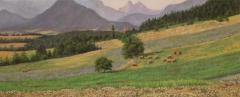 Hennepveld te Cornillon, olieverf, 19 x 46 cm, 7/2006, huile, Chanvre à Cornillon