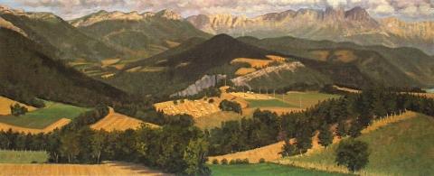 De Vercors, olieverf, 19 x 46 cm, 8/2006, huile, Le Vercors