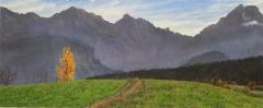 De populier, olieverf, 19 x 46 cm, 10/2006, huile, Le peuplier