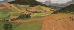 Villette, olieverf, 19 x 46 cm, 8/2007, huile, Villette